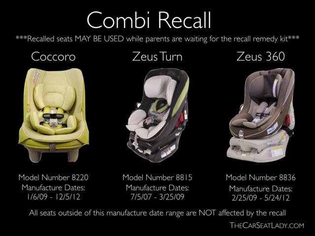Combi Zeus  Convertible Car Seat Recall